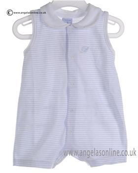 Babidu Baby Boys White and Blue All in One Romper 1513