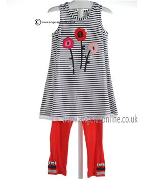 Deux par Deux grey and White Tunic Top & Red Leggings D76/D61