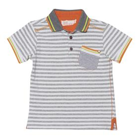 Deux par Deux Boys Grey and White Stripe Polo Top S75