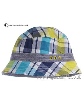 Deux par Deux Boys Blue and Green Check Beanie Hat UC/15