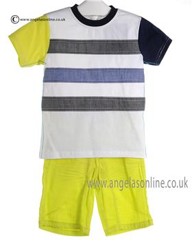 Deux par Deux Boys Navy and Yellow T Shirt & Shorts U72/X27