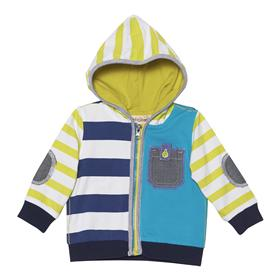 Deux par Deux Boys Navy, Citrus Yellow and Aqua Stripe Hoody U30