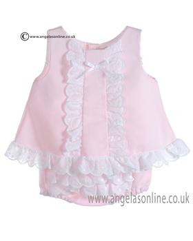 Mebi Baby Girls Pink and White Dress & Panty C1387/VC-CJTO