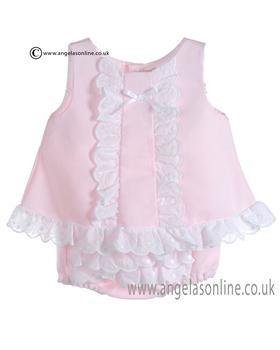 Mebi Baby Girls Pink and White Dress & Panty C1387/VC-CJTO