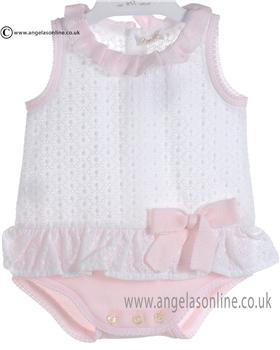 Mebi Baby Girls White and Pink Romper 1386/004