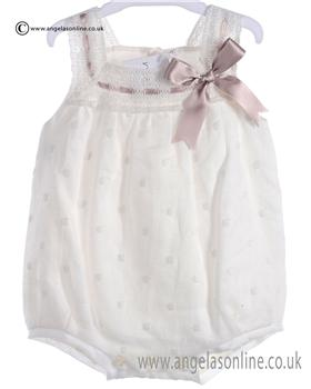 Mebi Baby Girls Cream and Beige Romper 1381/045PT
