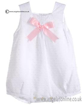 Mebi Baby Girls White and Pink Romper 1383/045