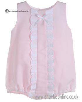 Mebi Baby Girls Pale Pink and White Romper 1387/045T