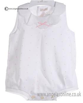 Mebi Baby Girls White and Pale Pink Romper 1329/045