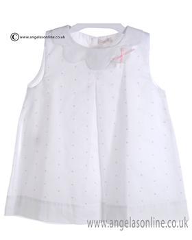 Mebi Baby Girls White and Pale Pink Dress 1329/057