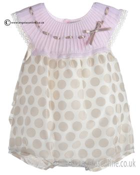 Mebi Baby Girls Pale Pink and Beige Romper 1391/045