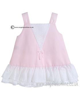 Mebi Baby Girls Pale Pink and White Dress 1386/057