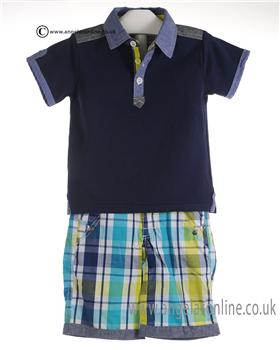 Deux par Deux Boys Polo & Check Shorts U73/U26 Navy