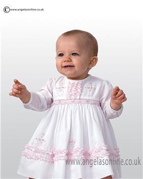 Sarah Louise Long Sleeve Dress With Ruffle Hemline 9998 WH/PK