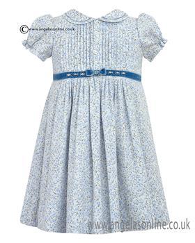 Sarah Louise Short Sleeve Blue Floral Girls Dress 10037