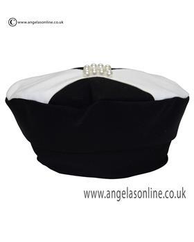 Kate Mack Girls Black Bow Hat Beret & Pearl Detail 143PH
