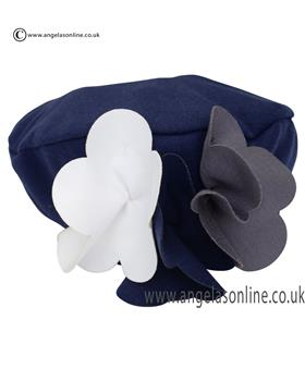 Kate Mack Girls Navy Hat With Applique Flowers 114UP