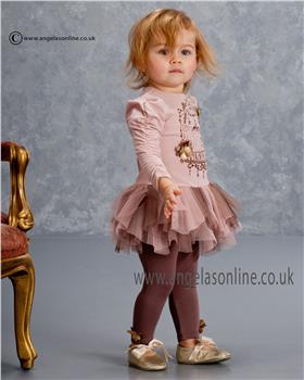 Kate Mack Girls Tunic Dress & Legging 565HGA Cocoa