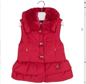 Mayoral Girls Gilet In Red With Fur Inside 4425 Red