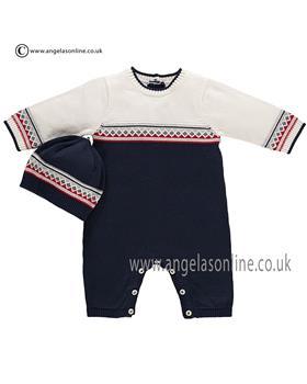 Emile et Rose Baby Boy Knitted All in One & Hat Fernando 1636nv
