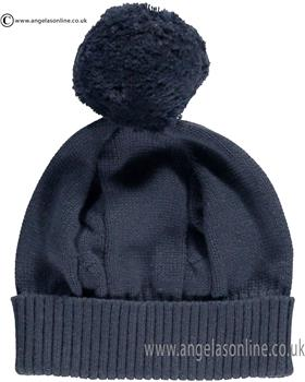 Emile et Rose Baby Bobble Hat Fuzzy 4658 Navy