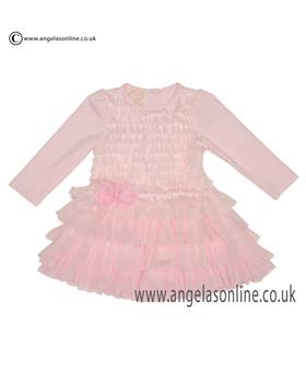 Kate Mack Baby Girls Ruched Net Dress 325BG Pink
