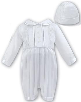 Sarah Louise Christening Romper & Hat 002232 L/S White