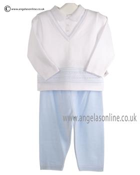 Pex Baby Boys Jumper & Trouser Suit Charles 6069 White/Blue