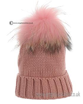 Anders Girls Fur Pom Hat 1709 Pink. Childrens winter pom pom hats.