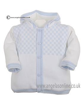Pex Baby Boys Knitted Jacket Byron B6201 White/Blue