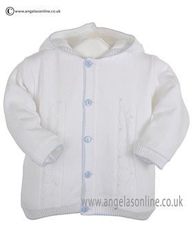 Pex Baby Boys Knitted Jacket Edward B6099 White/Blue