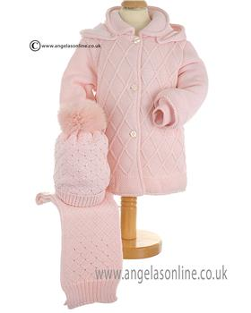 Bufi Baby Girls Knitted Coat 9354A Pink