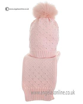 Bufi Girls Hat & Scarf Set 9266SC Pink