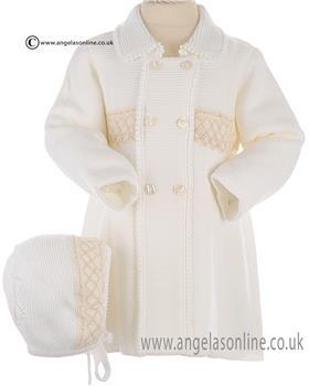 Granlei Baby Girls Coat & Bonnet 2-1065 Cream
