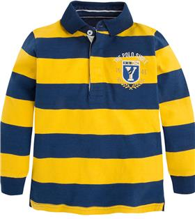 Mayoral Boys Long Sleeve Striped Polo Top 4111 Yellow