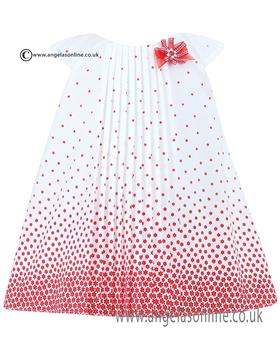 Sarah Louise Girls Dress 010426 WH/RD