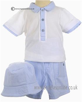 Coco Baby Boys Top, Shorts & Hat 4520 White/Blue