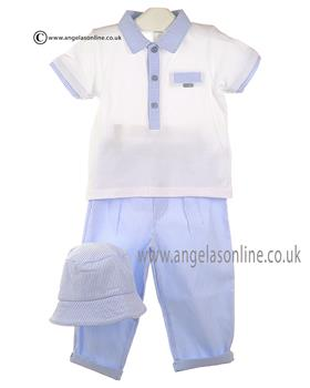 Coco Baby Boys Top, Trousers & Hat 4521 White/Blue