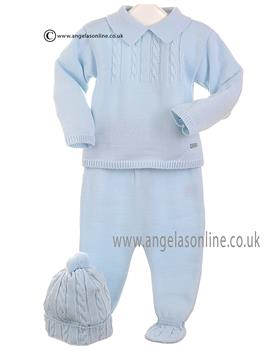 Coco Baby Boys Top, Trouser & Hat CCA3147 Blue