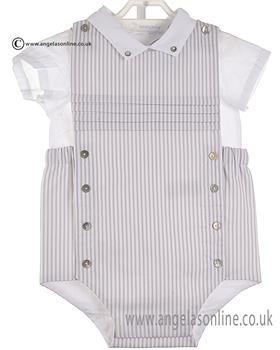 Laranjinha Baby Boys Shirt & Dungaree V6827/V6814 WH/GR