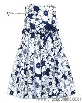Sarah Louise Girls Dress 010431 WH/NY