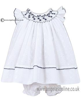Sarah Louise Baby Girls Dress 010424 WH/NY