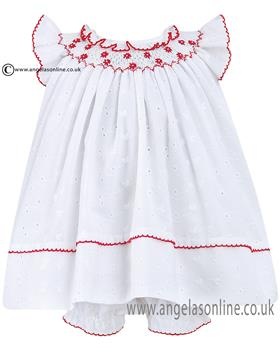 Sarah Louise Baby Girls Dress 010424 WH/RD