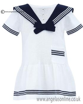 Dani Girls Dress D09017 Wh/Ny