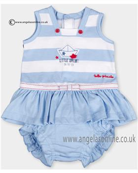Tutto Piccolo Baby Girls Nautical Blue Dress & Knickers 9483