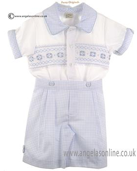 Pretty Originals Baby Boys Top & Short MT00652 BL/WH