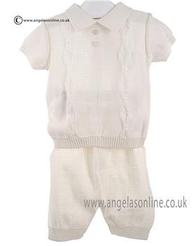 Pretty Originals Baby Boys Polo Top & Short JPB1180E Cream