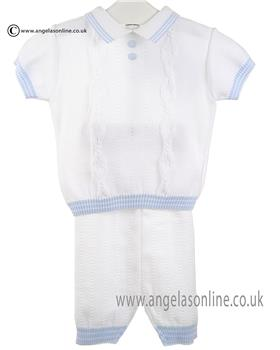 Pretty Originals Baby Boys Polo Top & Short JPB1180E WH/BL