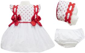 Miranda Baby Girls Dress Bonnet and Knickers 19-0158-VBG Red