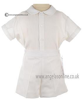 Torres Baby Boys Short Sleeve 2 Pce 21654 Ivory/Ivory